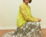 My exceptionally comfortable, stylish & very swishy brown/white Kaleidoscope Sunray pleated midi skirt.