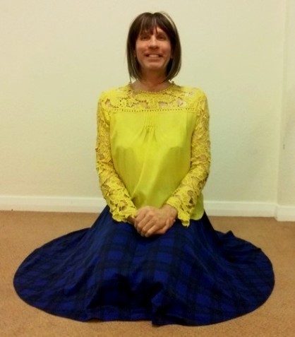 My exceptionally comfortable, stylish & very swishy blue Tartan Your Look full circle midi skirt.