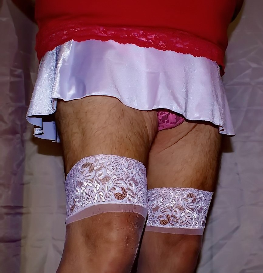 Don't you love mini skirts and hot pink lace panties?