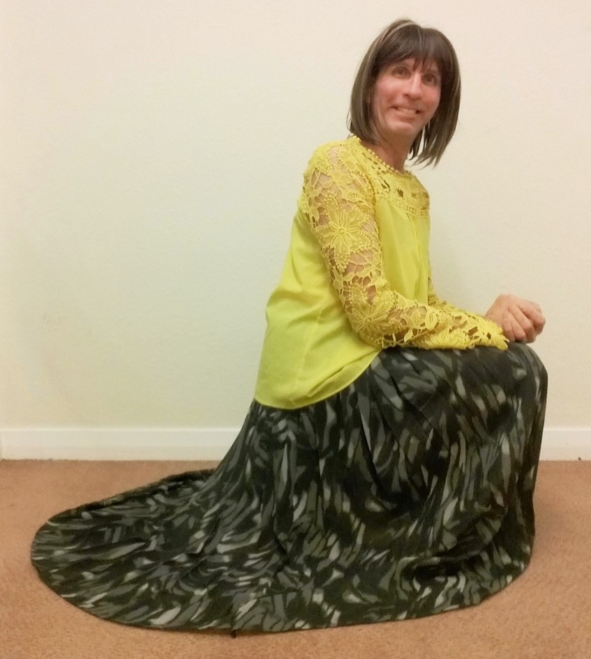 My exceptionally comfortable, stylish & very swishy Kaleidoscope camouflage print pleated maxi skirt, plus my yellow chiffon blouse.