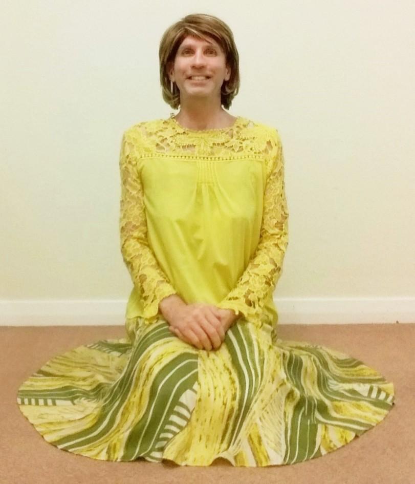 My exceptionally comfortable, stylish & very swishy Monsoon Safari print full circle midi skirt, plus my yellow chiffon blouse.