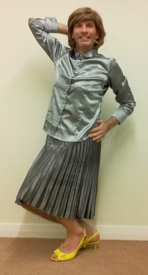 My exceptionally comfortable, stylish & very swishy silver silk pleated Papaya midi skirt is complemented by my satin LE3NO blouse.
