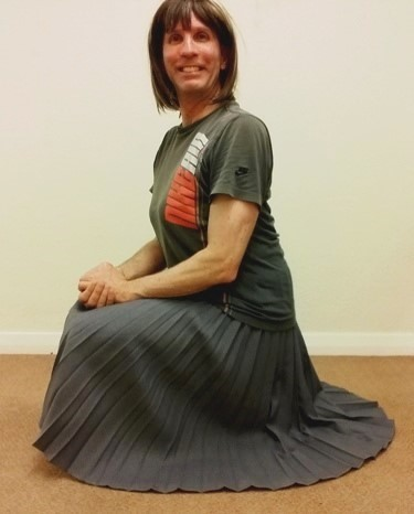 My exceptionally comfortable, stylish & very swishy Constance Wood mid grey pleated maxi skirt.