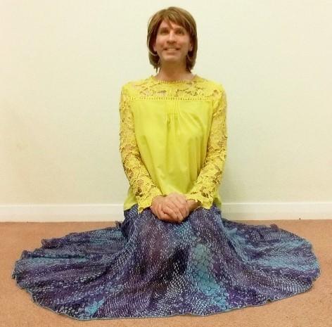 My exceptionally comfortable, stylish & very swishy per una multi-coloured full circle skirt, plus my yellow chiffon blouse