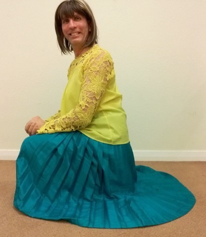 My exceptionally comfortable, stylish & very swishy teal green ARCOBELLINO silk pleated maxi skirt.