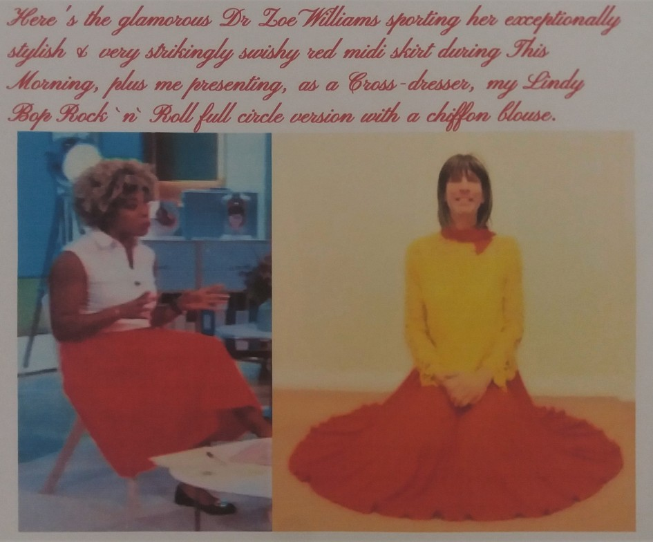 My exceptionally comfortable, stylish & very swishy full circle midi skirt