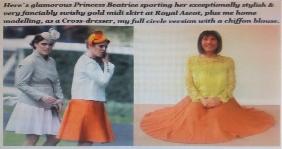 My exceptionally comfortable, stylish & very swishy gold full circle midi skirt.